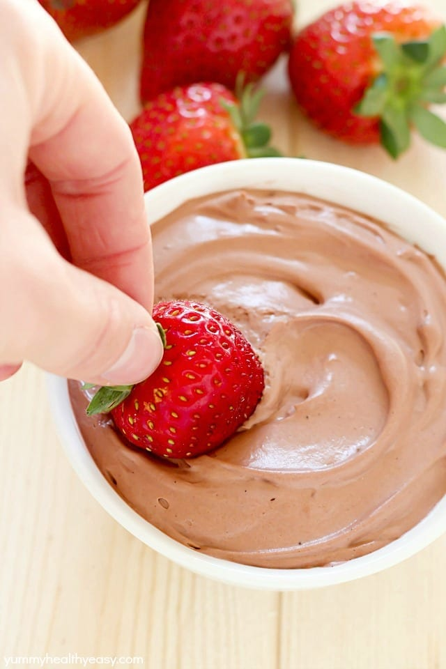 EASY Chocolate Yogurt Dip! This is perfect for fruit or graham crackers!