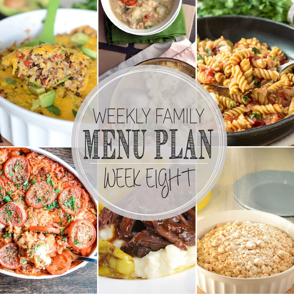 Weekly family menu plan 8