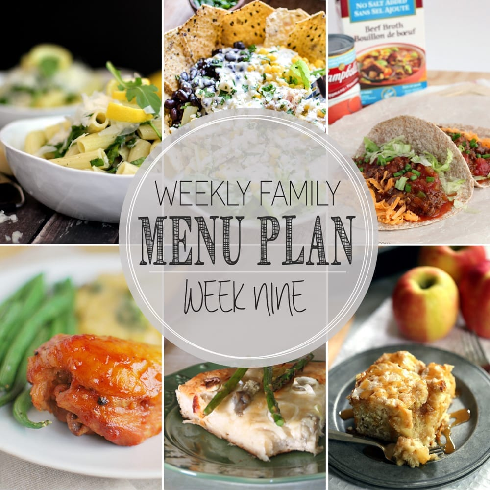 Weekly family menu plan 9