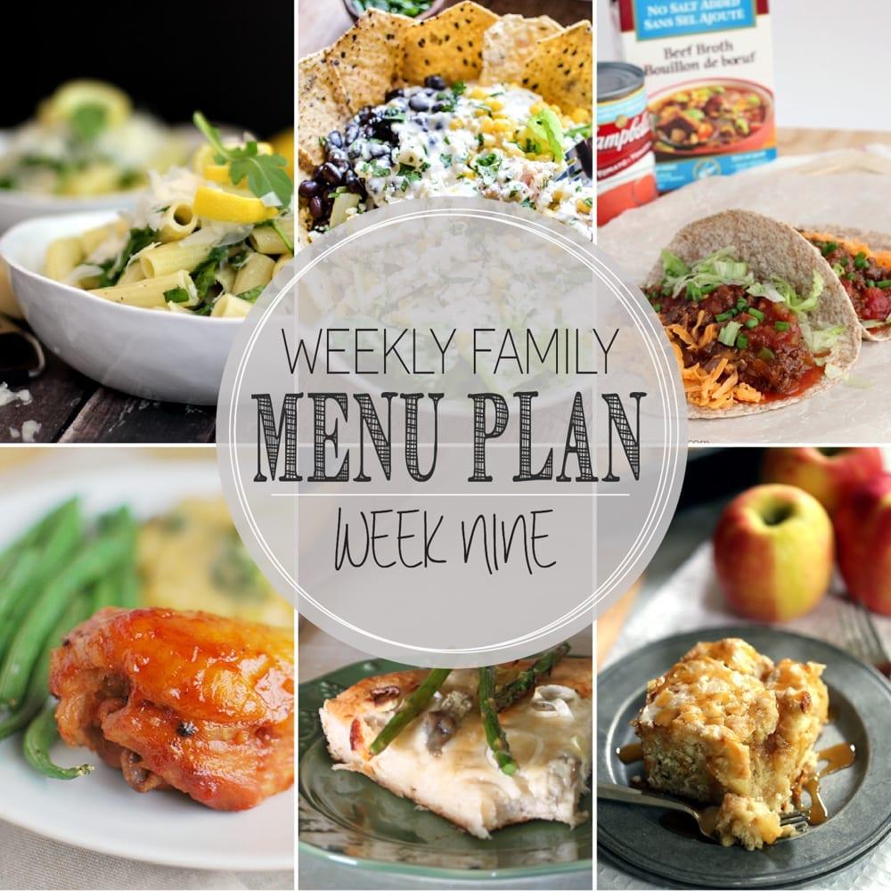 Weekly family menu plan 9