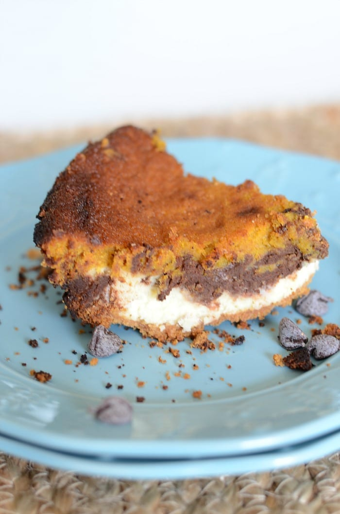Chocolate pumpkin cheesecake pie