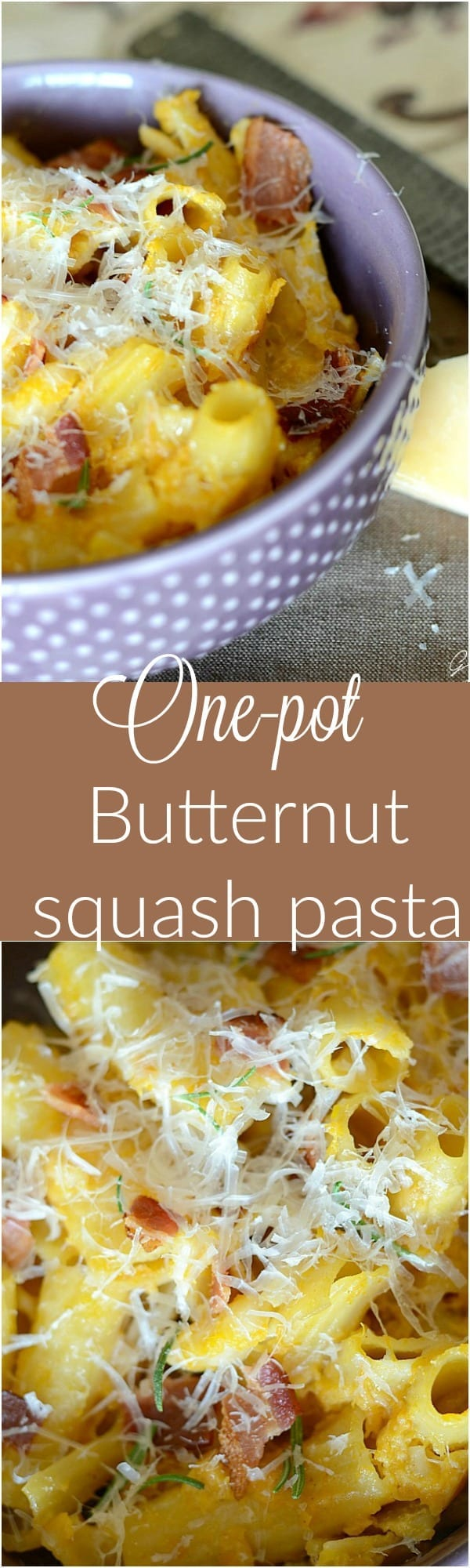 Creamy one pot butternut squash and bacon pasta! Such an easy and delicious recipe!