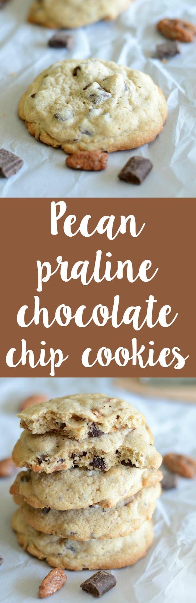 Homemade pecan praline chocolate chip cookies