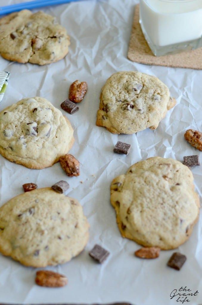 Pecan praline chocolate chunk cookies