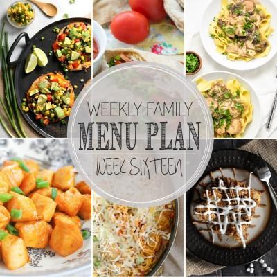 Weekly Family Menu Plan 16