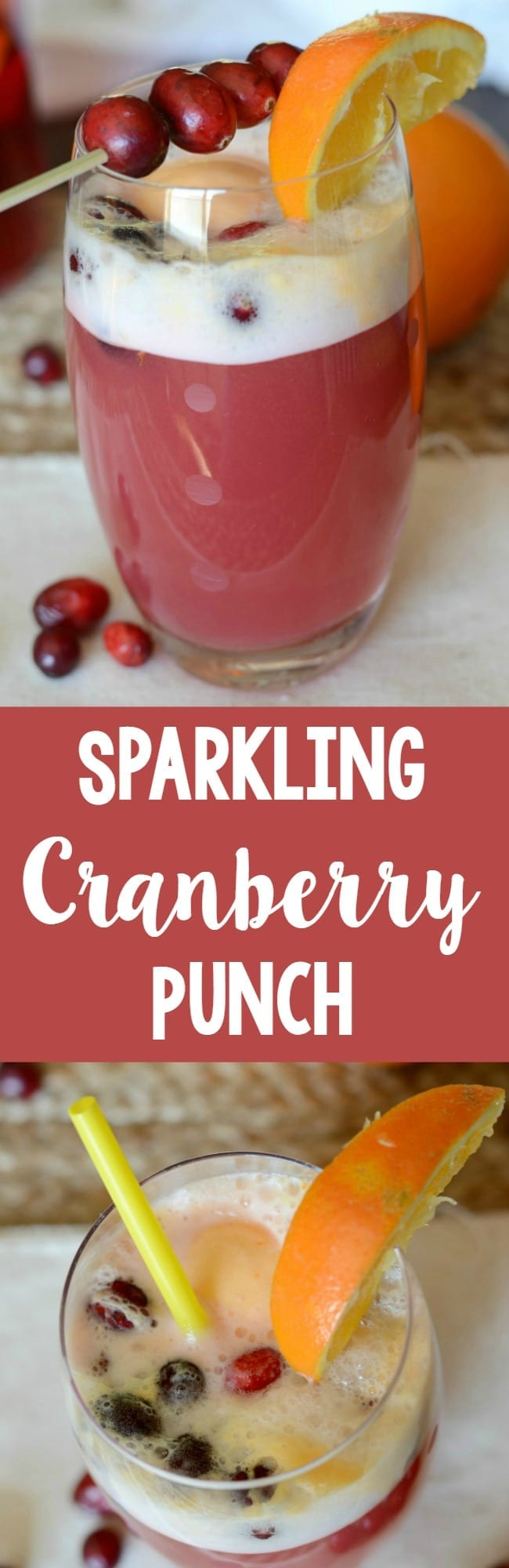 Sparkling cranberry punch recipe! You won't believe how easy this punch is to make! And perfect for a party!