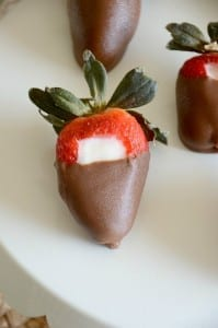 Chocolate covered cheesecake stuffed strawberries