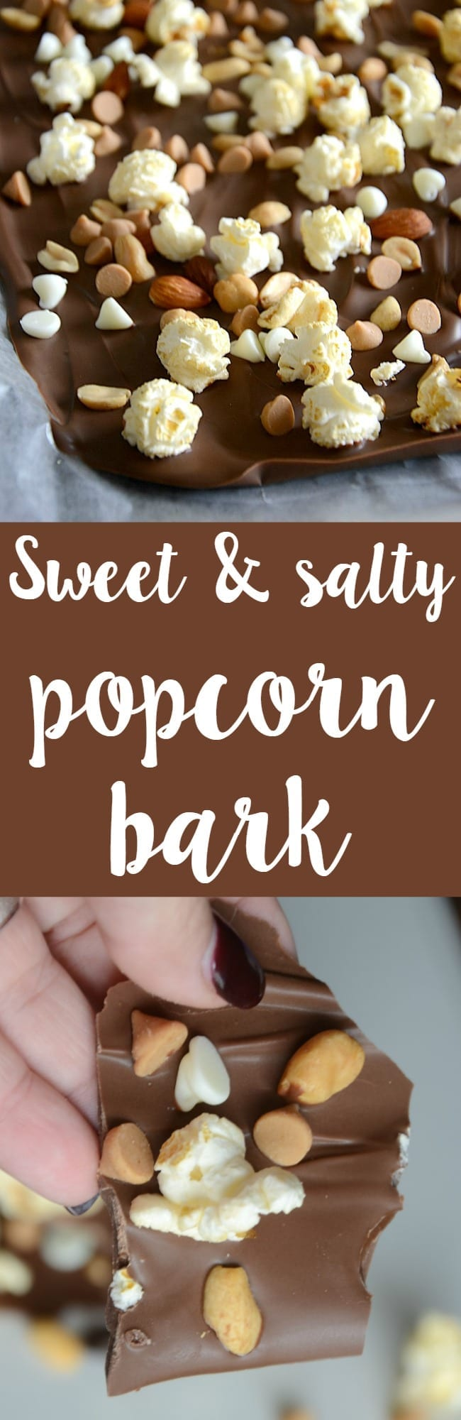 Delicious sweet and salty popcorn bark recipe!  This is so easy to toss together and everyone will love the sweetsalty combo!