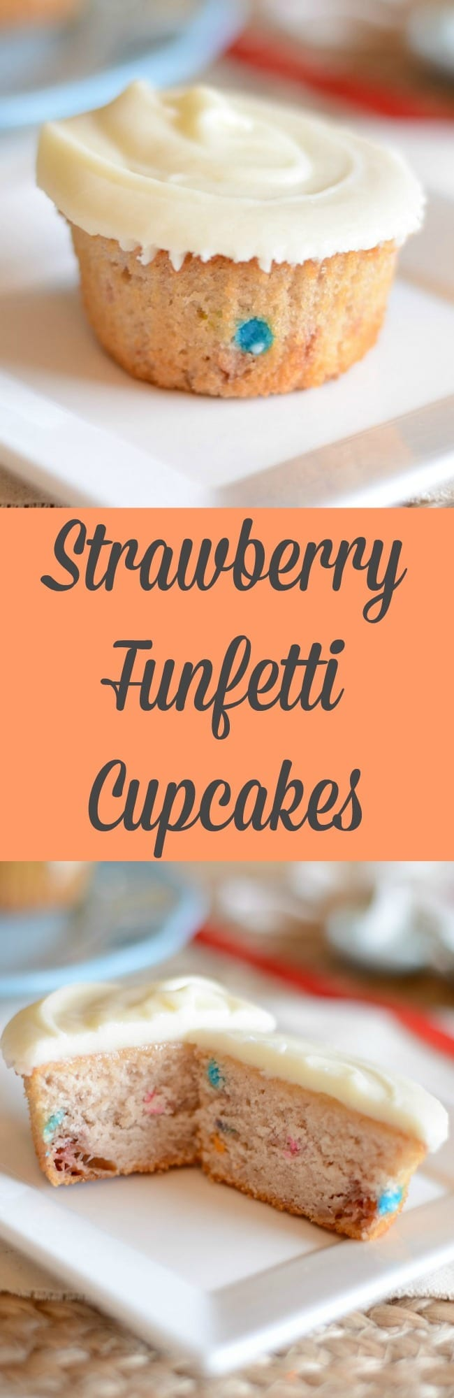 Homemade strawberry funfetti cupcakes!  Make these easy cupcakes for a birthday party or just for fun!