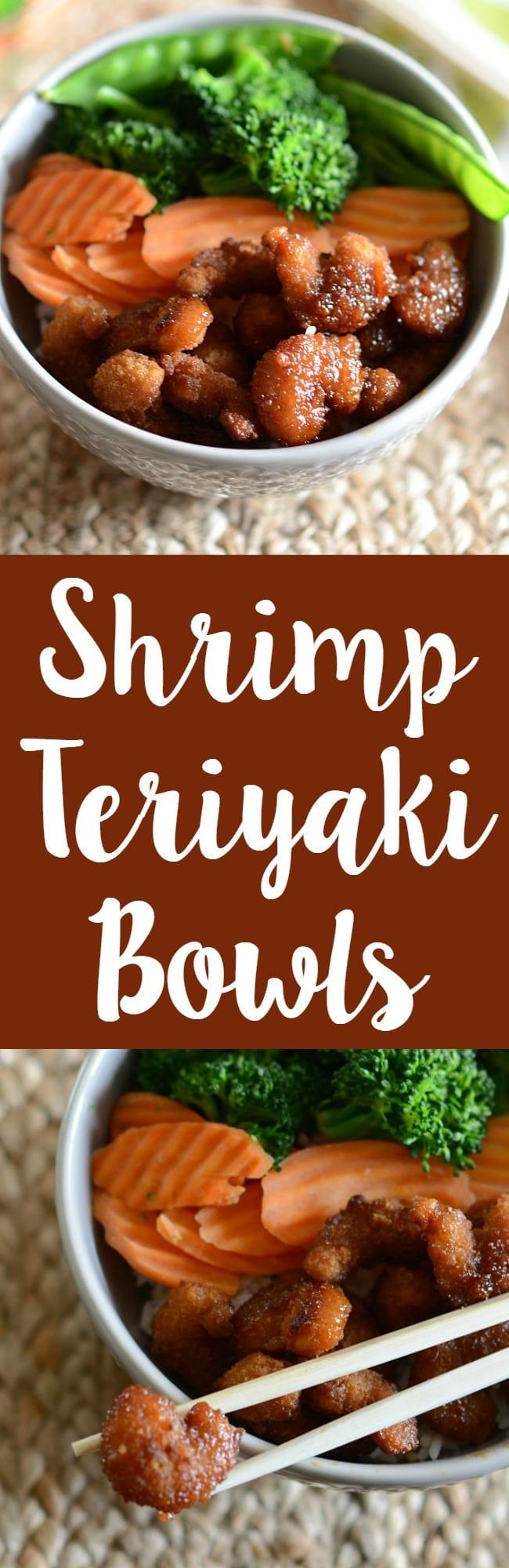Easy and delicious shrimp teriyaki bowls! Rice on the bottom and then steamed veggies and shrimp with homemade teriyaki sauce!