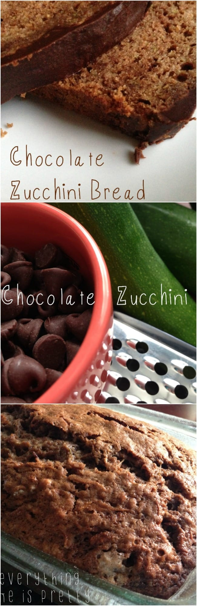 Homemade chocolate zucchini bread covered in chocolate ganache!