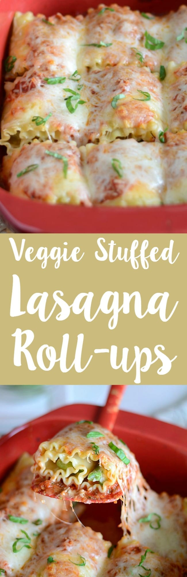 Veggie stuffed lasagna roll-up recipe! These roll ups are filled with fresh veggies, ricotta cheese and mozzarella!