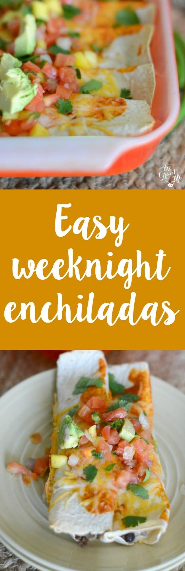 Easy weeknight enchilada recipe!  Make these yummy enchiladas super quick