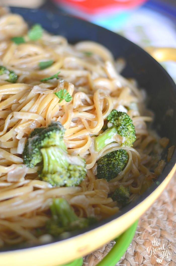 One pot homemade broccoli Alfredo pasta!