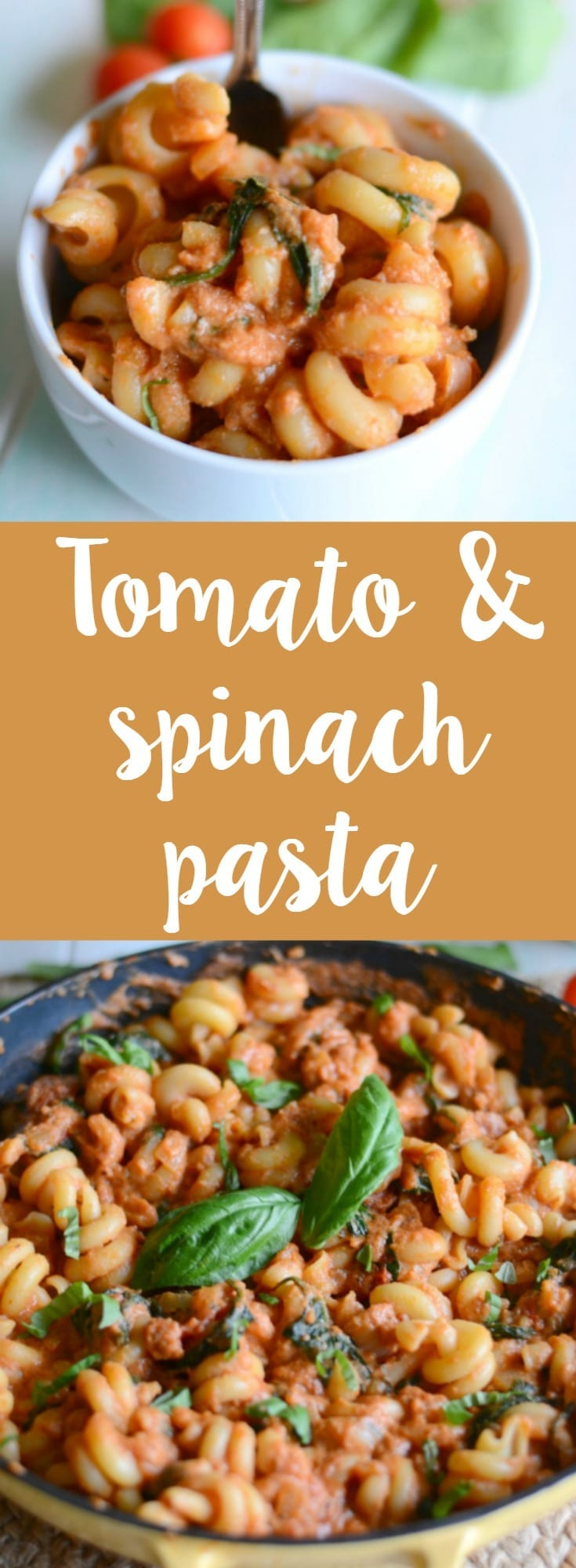 Creamy tomato and spinach pasta recipe! This yummy pasta comes together in under 30 minutes and is the perfect family dinner recipe!