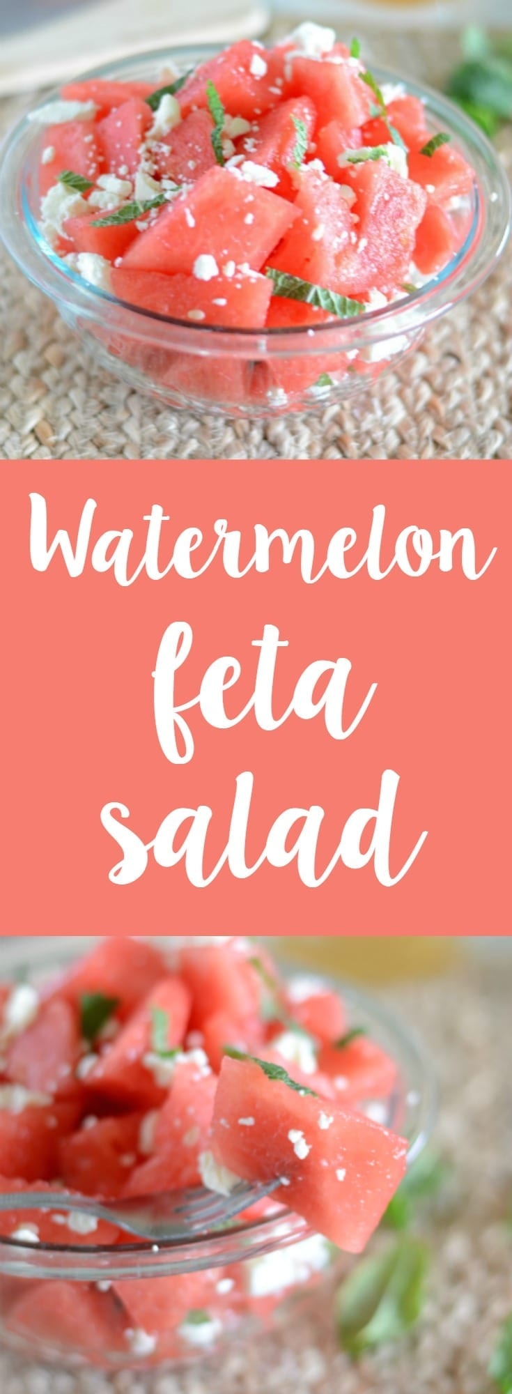 Watermelon feta salad! The perfect side or snack for any summer BBQ! So easy to make and everyone will love it