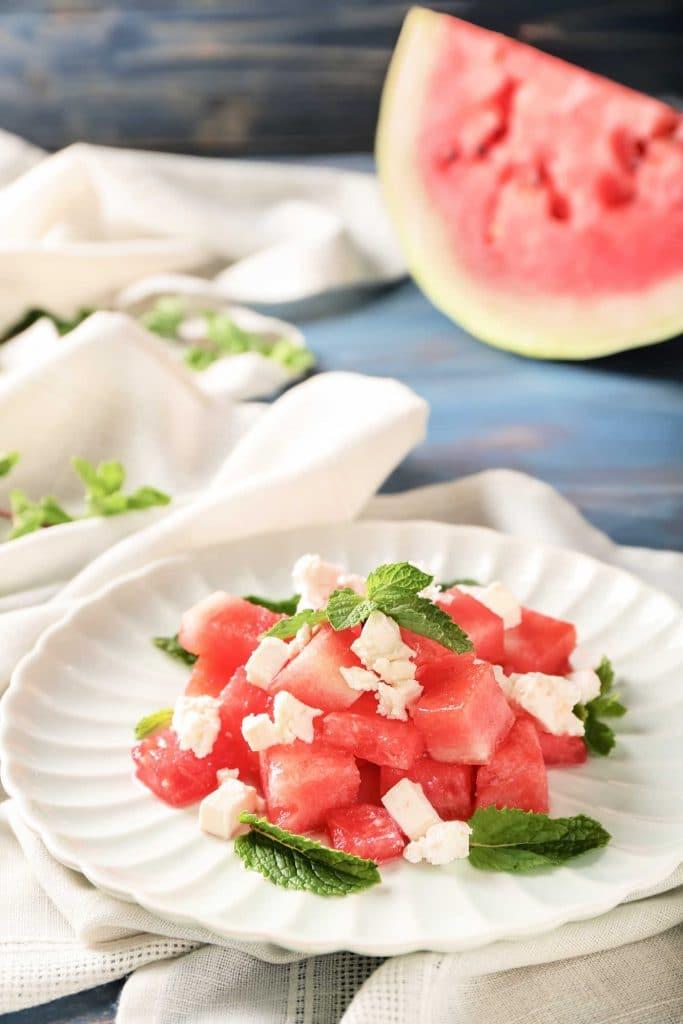 Watermelon feta salad with mint dressing