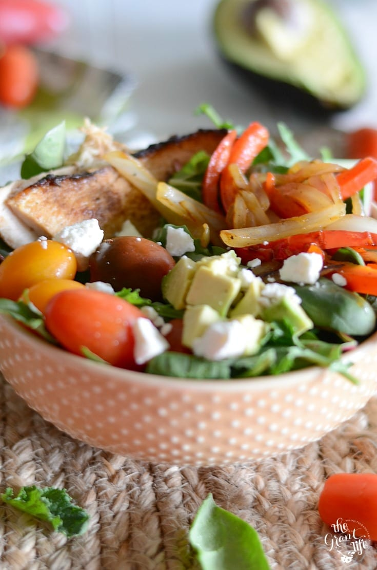 Chicken fajita salad recipe is perfect for a weeknight dinner!