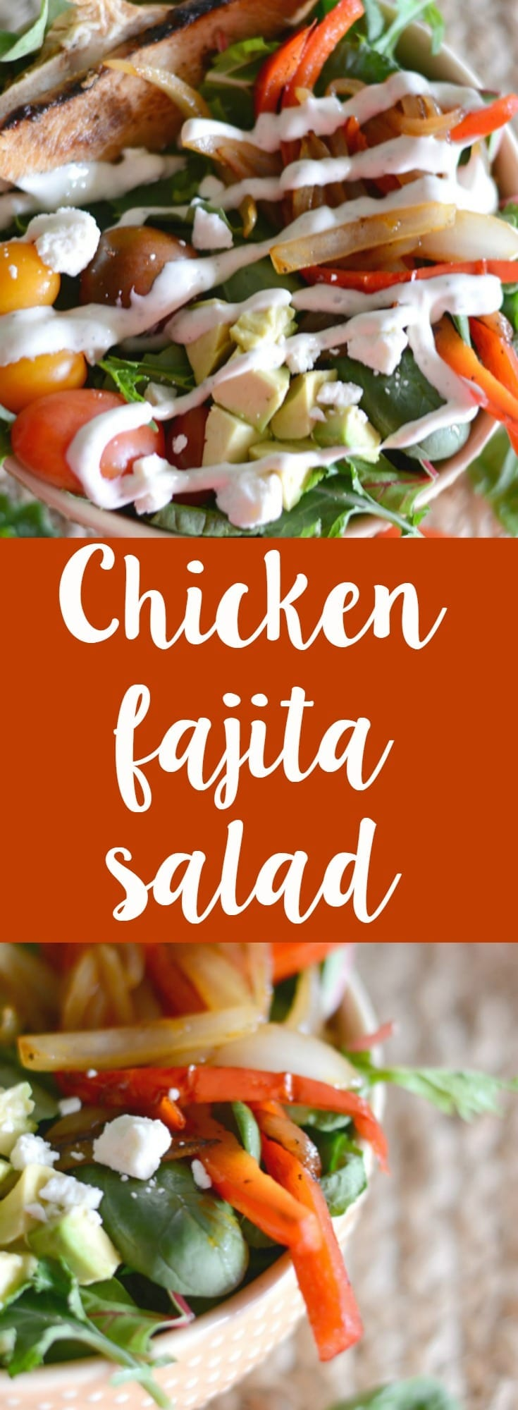 Homemade chicken fajita salad! This salad is perfect for a busy weeknight and is loaded with flavor!