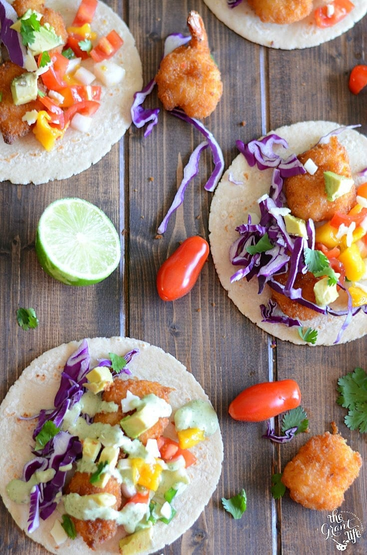 Homemade mango shrimp tacos