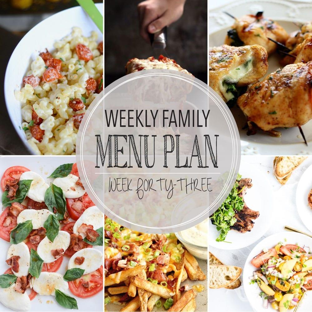 Weekly family menu plan