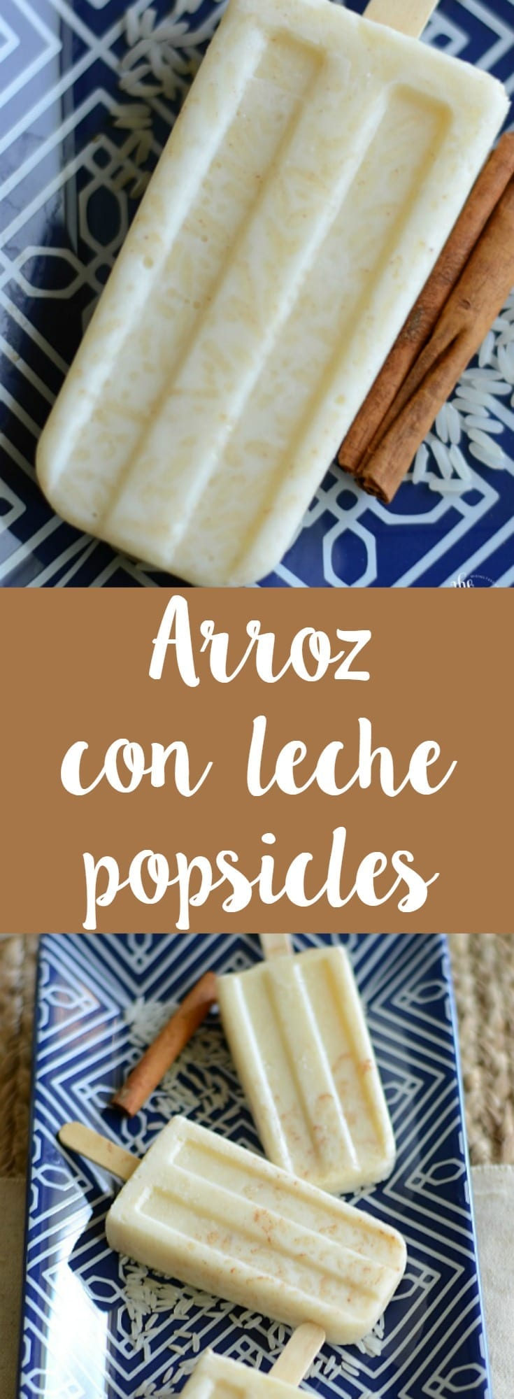Easy arroz con leche popsicles! These sweet rice pops are perfect for a hot summer day or to enjoy at breakfast!