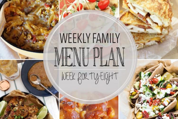Weekly family menu plan 48