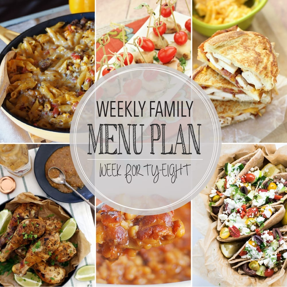 Weekly family menu plan 48