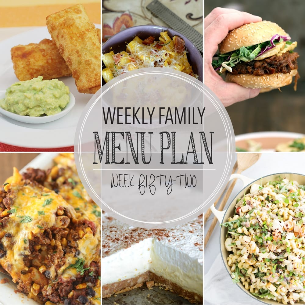 Weekly family menu plan 52
