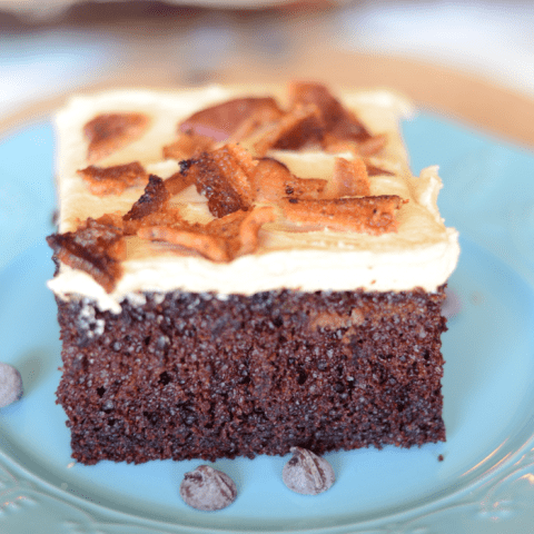 Chocolate peanut butter bacon cake