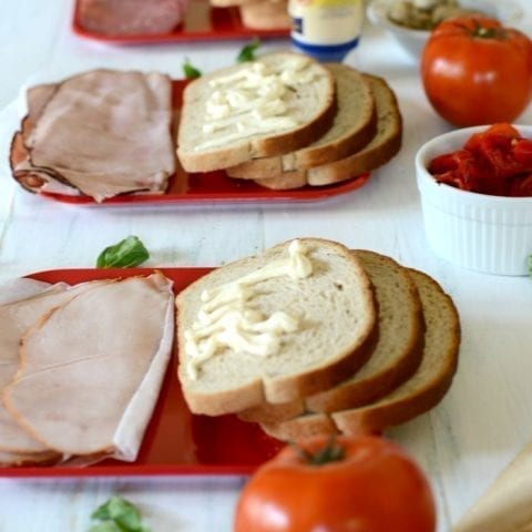 Antipasta salad sandwich