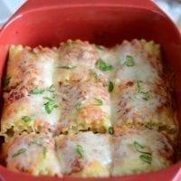 Veggie stuffed lasagna roll-ups