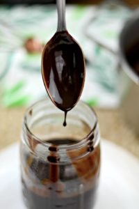 chocolate sauce with cocoa powder