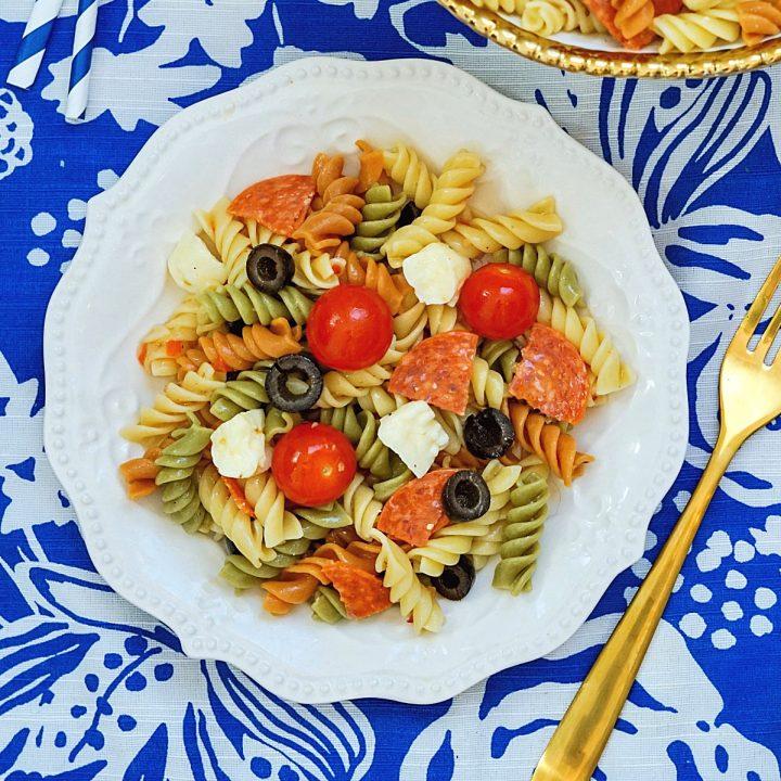 Homemade classic pasta salad