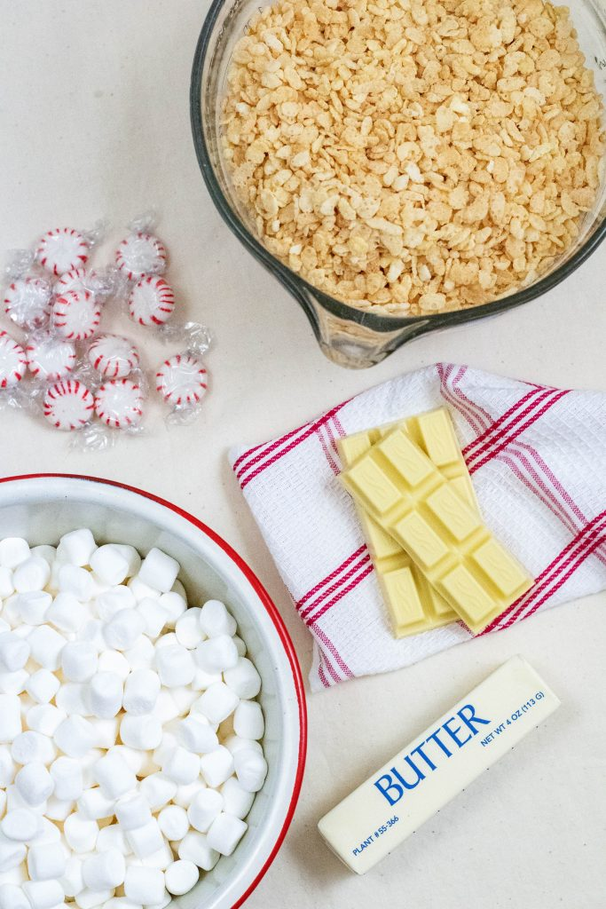 Ingredients needed for white chocolate rice krispies