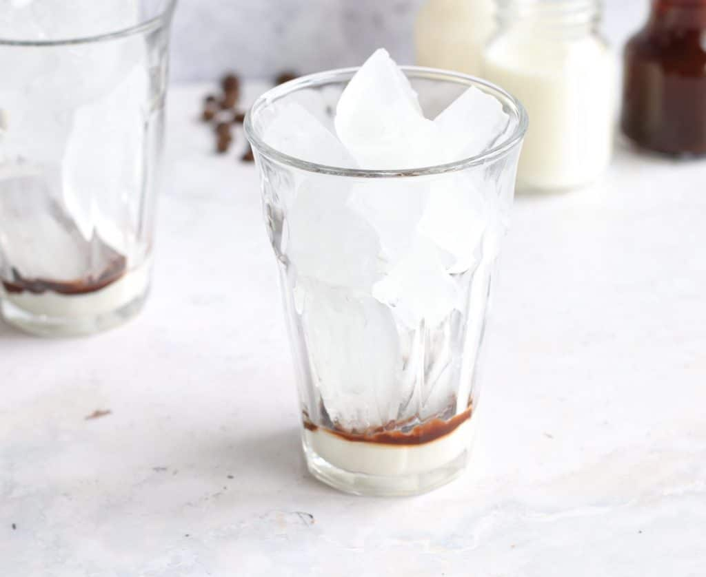 Add chocolate and ice