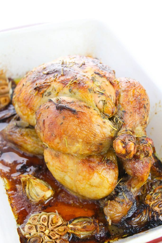 garlic butter roasted chicken recipe in the oven