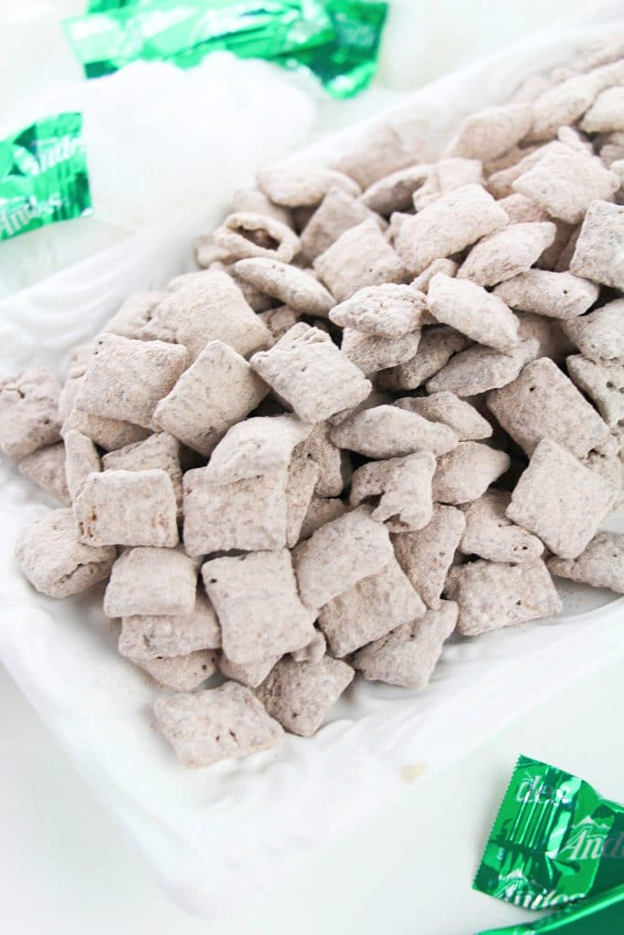 How to make mint flavored puppy chow with andes mints