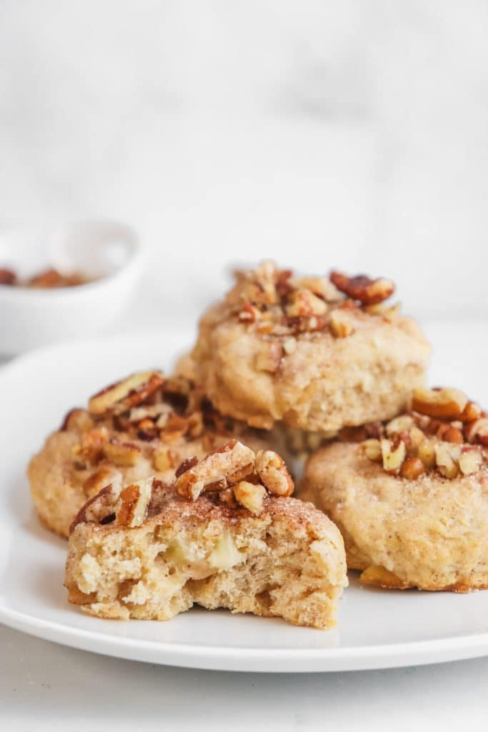 apple cider scones on a white plate