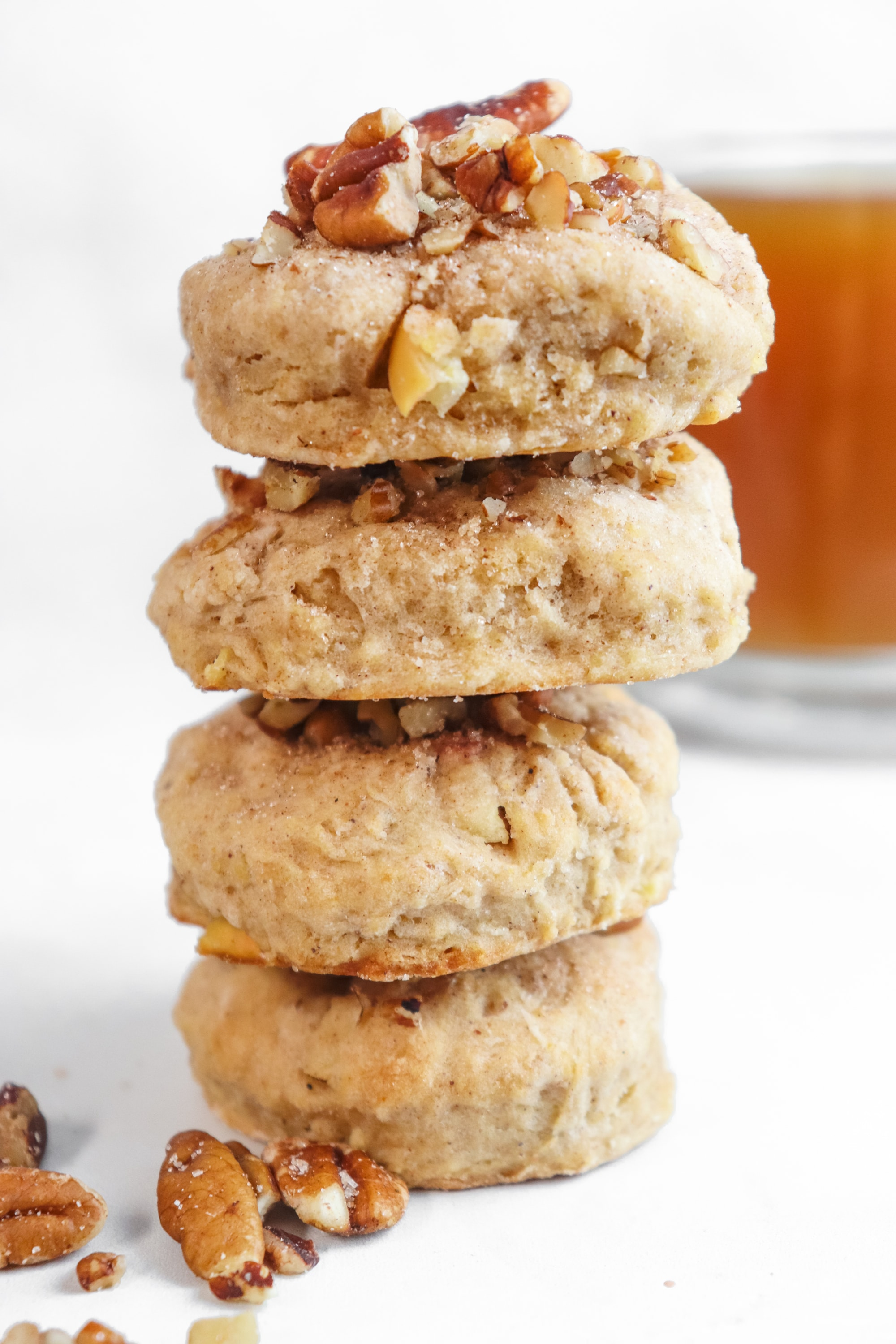 Stack of homemade apple cider scones perfect for fall