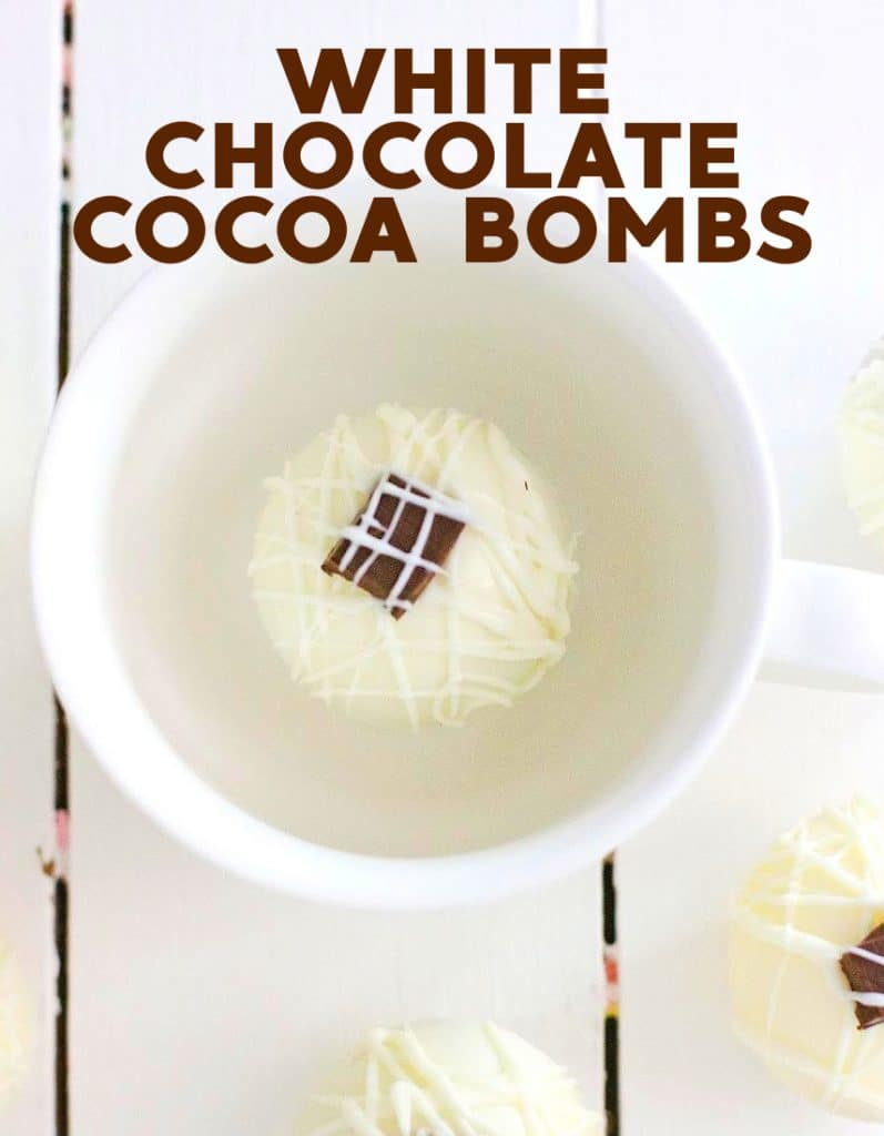 Make these white chocolate cocoa bombs filled with instant espresso and white chocolate sauce